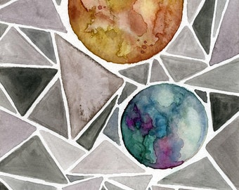Triangles and planets solar system 5x7 in. watercolor print cosmic geometrical painting