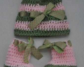 Delta Zeta, AKA, sorority,baby shower gift,hat and booties set,pink and green