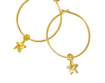 Tiny Star Earrings - Tiny Charm Hoops - Gold Star Earrings Gold Star Hoops Small Hoop Earrings Star Hoop Earrings Bestie Gift Thankyou Gift