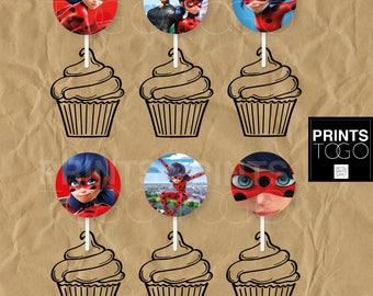 Miraculous Ladybug cupcake topper, Miraculous Ladybug party supplies, Ladybug party, Miraculous Ladybug topper, ladybug party topper