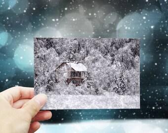 Christmas card printable, Christmas greeting card download, digital Christmas card, snow landscape #2, 4x6 Holiday printable card