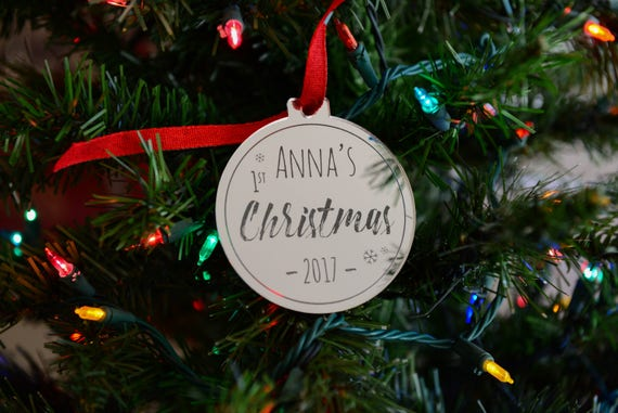 Personalized Mirrored Ornament - Gold or Silver Acrylic - Baby's First Christmas- Stocking Stuffer -Holiday Gift for New Parents - Baby Gift