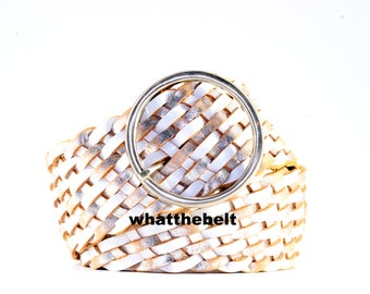Vintage Belt Wide White Silver Leather Woven Braided Belt with Round Metal Silver Buckle Large