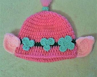 Troll Hat, Winter Hat, Flower Hat, Trolls Hat, Pink Hat, Crochet Hat, Crochet Troll Hat
