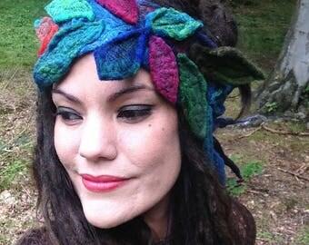The 'Alfri' Faery Headdress, Felted Headband, Gypsy HeadScarf, Hippie, Festival Wreath of Embroidered Felt Leaves OOAK