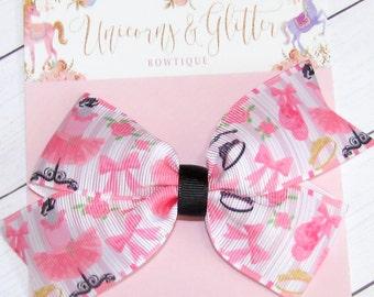 Ballet Hair Bow, Girls Hair Bows, Ballet Outfit, Hair Accessories for Girls, Ballerina Hair Bow, Pink and Black Hair Bow, Dance Hair Bow