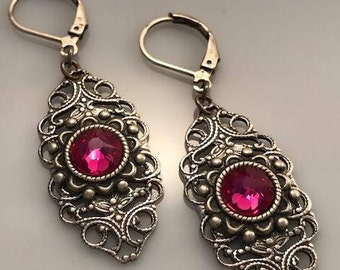 Pink Swarovski Crystal Earrings - Pink Earrings - Filigree Earrings - Dawn Santucci - Metal di Muse - Victorian Earrings - Elegant Earrings