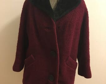 Vintage 1950's wool red & black coat with buttons