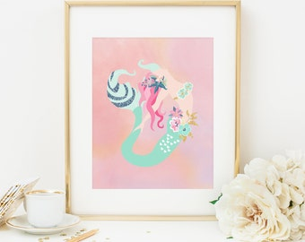 Mermaid Printable Nursery Mermaid Decor Teal Mermaid Print Pink Mermaid Wall Art Girl Nursery Nautical Decor Children's Bathroom Decor 292