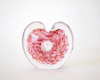Hand Blown Glass Heart Paperweight Vase
