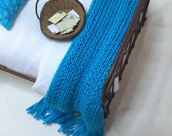 Miniature Dollhouse Cottage/Shabby Chic Style Blankets - Hand Knitted - Medium Turquoise