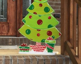 Christmas Garden Art   Christmas Lawn Art   Wood Christmas Tree   Outdoor  Christmas Decorations