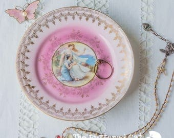 Romantic vintage porcelain trinket dish, ring dish, jewelry holder