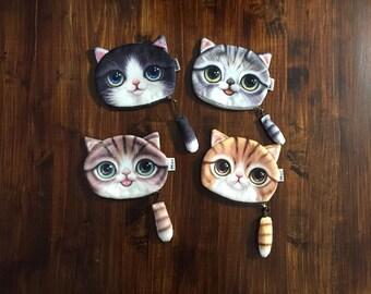 Plush 3D Cat Kitten Kitty Face Coin Purse Gray Black Orange Brown Tail Zipper Polks Dot Lined