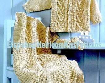 Baby Knitting Pattern PDF Baby Jacket, Hat, Mittens, Bootees, Blanket 16-26'' 0-6yrs, Double Knitting Pattern Instant Download PDF - 739