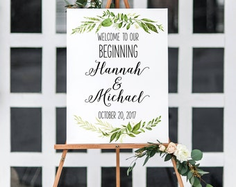 welcome to our beginning printable sign, greenery wedding sign, welcome wedding sign pdf, leaf
