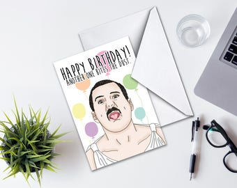 Birthday Card, Freddie Mercury Birthday Card, Funny Birthday Card, Lyric Birthday Card, Another One Bites The Dust, Queen Lyrics Inspired