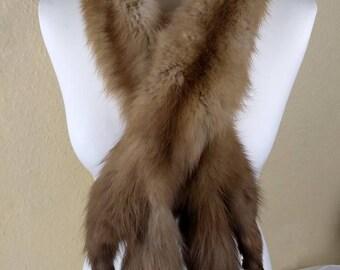 Vintage Honey Brown MINK Real Fur Scarf / Wrap 2 full Mink Pelts 52inch long