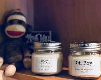 Personalized Natural Soy Candles - Baby Shower