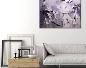 Purple Gray Abstract Painting Original/ Bedroom Art/ Textured Wall Art Painting/Large Wall Art Canvas/ Purple Wall Decor/ Art By Christovart