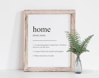 Home Definition Print, Home Print, Housewarming Gift, Rustic Decor, Minimalist Print, Rustic Style