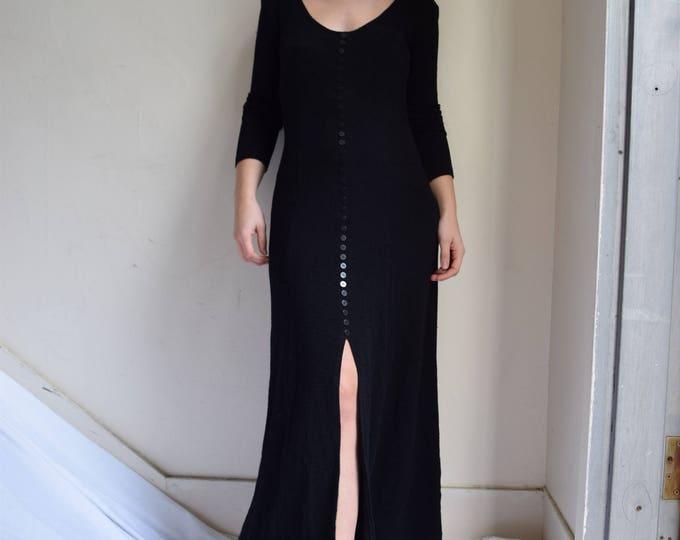 Floorlength Black Long Sleeve Tea Dress.