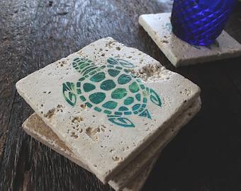 Sea Turtle Coasters, Turtle Gifts, Beach Lovers Gift, Wife Gift, Stone Coaster, Beach Coaster, Coral Coaster, Sea Turtle Gift, Ocean Coaster