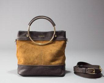 Leather Bucket Bag, bucket bag, leather shoulder bag, leather bucket purse, crossbody bag, brown leather bucket bag, women leather bag