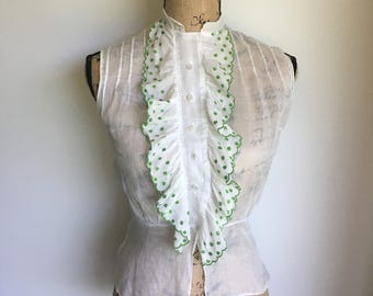 1950s sheer blouse | cascading ruffles | basil floral detail