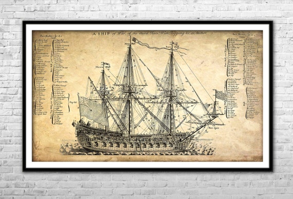 Old ship blueprint archival paper print and canvas print like this item malvernweather Choice Image
