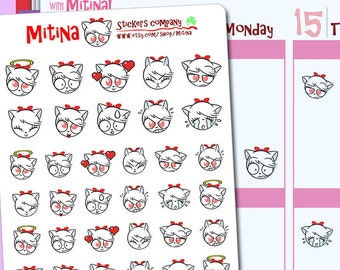 MFS001 - Mitina Moods stickers,  decoration stickers, emotions stickers, emotis, planner stickers, happy planner, 34 stickers