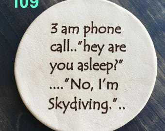 Skydiving - Funny Leather Coasters