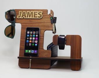 Gift for Men,Anniversary Gift for Husband,Custom Gift for Dad,Wooden Docking Station,Boyfriend Gift,Gift,Gift for Him,iPhone Docking Station