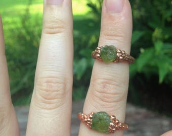 Rough Peridot Copper Electroformed Ring sz 7.5