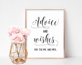 Bridal Shower Signs, Well Wishes Sign, Wedding Reception Signs, Marriage Advice Sign, Advice and Wishes for the Mr. and Mrs., Printable