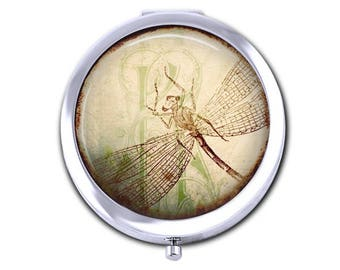 Dragonfly pocket mirror, vintage dragonfly compact mirror, dragonfly collage, insect mirror, gift for her.