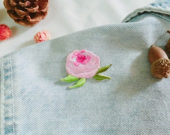 pink rose patch-tiny flower patch-gorgeous-diy-applique-patch for jacket -embroidered-cute