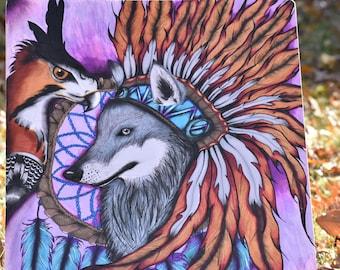 Wolf And Bird