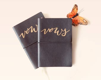 Wedding Vow Books, Simple vow booklets, Basic wedding book set, Black with gold lettering, Hand-calligraphy, Gold writing vow books