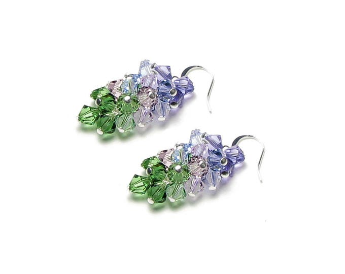 Purple Hydrangea Swarovski Crystal Cluster Silver Earrings Shades of Summer Lavender Lilac Amethyst Green Garden Flower Inspired Jewelry