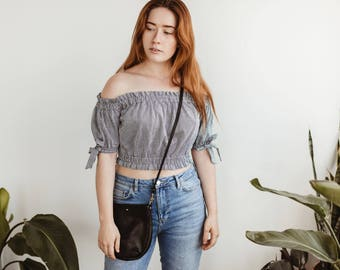 SUZIE Small Black Purse. Black Leather Bag. Small Leather Crossbody Bag. Small Leather Purse