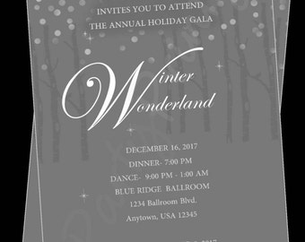 Printable Winter Wonderland - Christmas Party -  Personalized Invitations -  Custom - Holiday