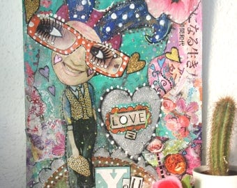 Original mixed media painting on card, 'Love equals you', collage art.