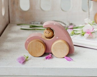Girly Car Toy, Wooden Car Toy for 1 year old, Pink Wood Car