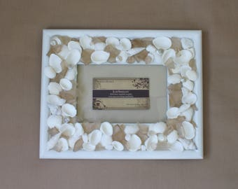 Seashell frame - 4 x 6 picture frame - sea glass frame - wedding frame - coastal decor - beach decor
