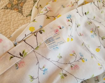 Two  vintage different sized bed flat  sheets J C Penny Muslim pastel colors, tiny flower design, BOTH for 34.00