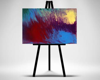 Color Blaze- Original Acrylic  Mini Painting On Easel-Looks Great On Mantles,Coffee Tables,Dressers Can Be Framed For Wall Hangings.