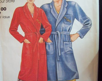 1980s Co-ed Quick Wrap Robe Vintage McCall's Complimentary Pattern 0011 Sizes Small-X-Large Uncut Factory Fold