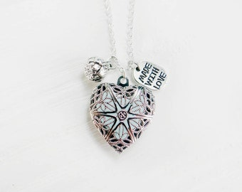 Secret message necklace locket necklace personalized necklace romantic wedding initial jewelry will you be my bridesmaid gift heart necklace