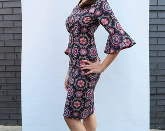 SALE-Retro Mid Length  Black Dress with Flower Red 3/4 Sleeve Fitted with Pockets in Cotton Handmade Print